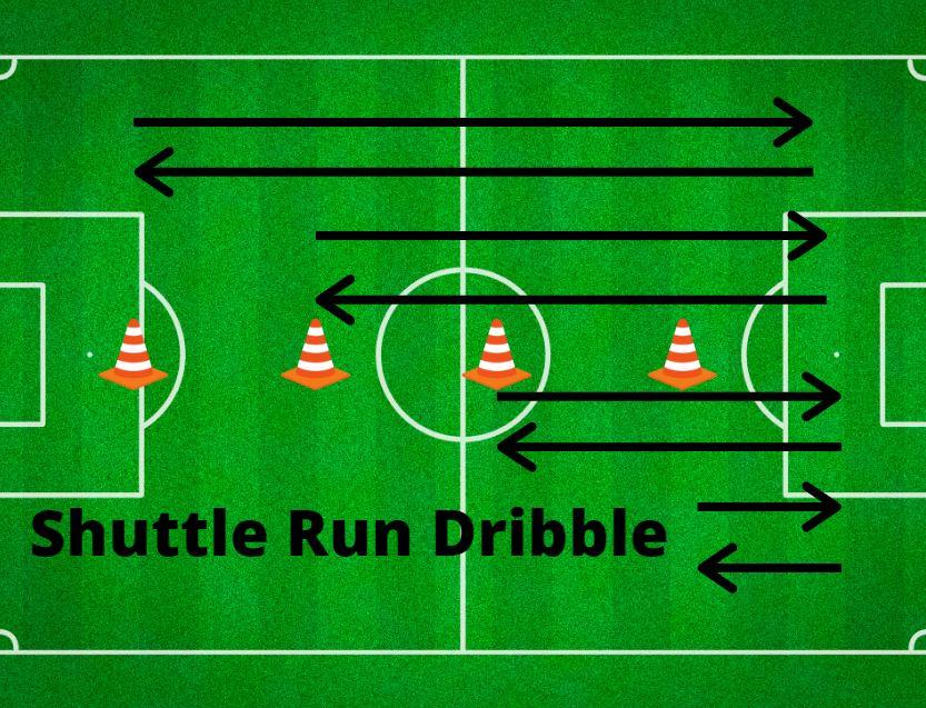 soccer training shuttle run dribble
