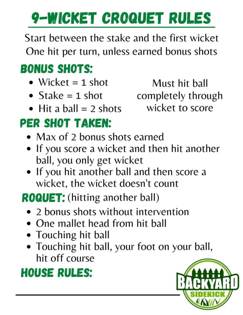 9-Wicket Croquet Rules